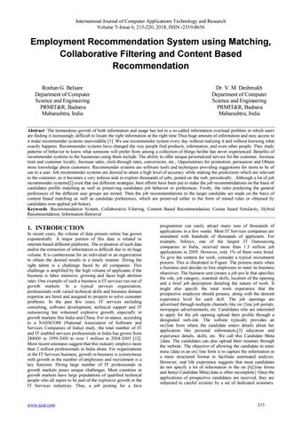 Employment Recommendation System Using Matching Collaborative