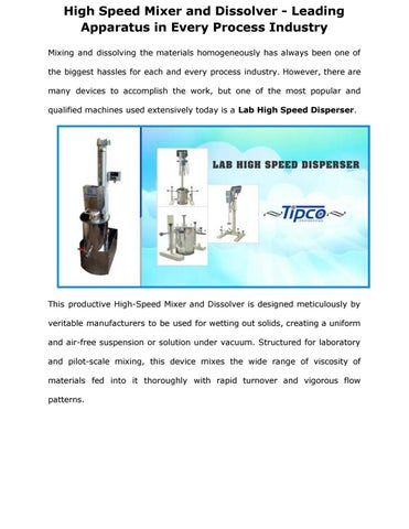 High Speed Mixer and Dissolver - Leading Apparatus in Every