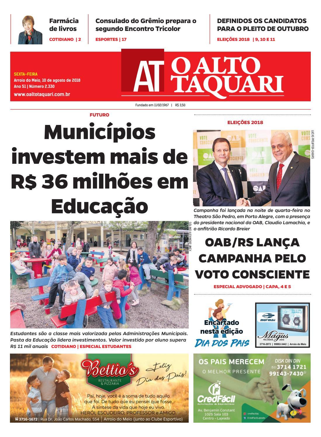 cb4e567bd52 Jornal O Alto Taquari - 10 de agosto de 2018 by Jornal O Alto Taquari -  issuu