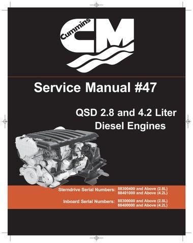 Cummins MerCruiser QSD 2 8 170 HP DIESEL ENGINE Service Repair