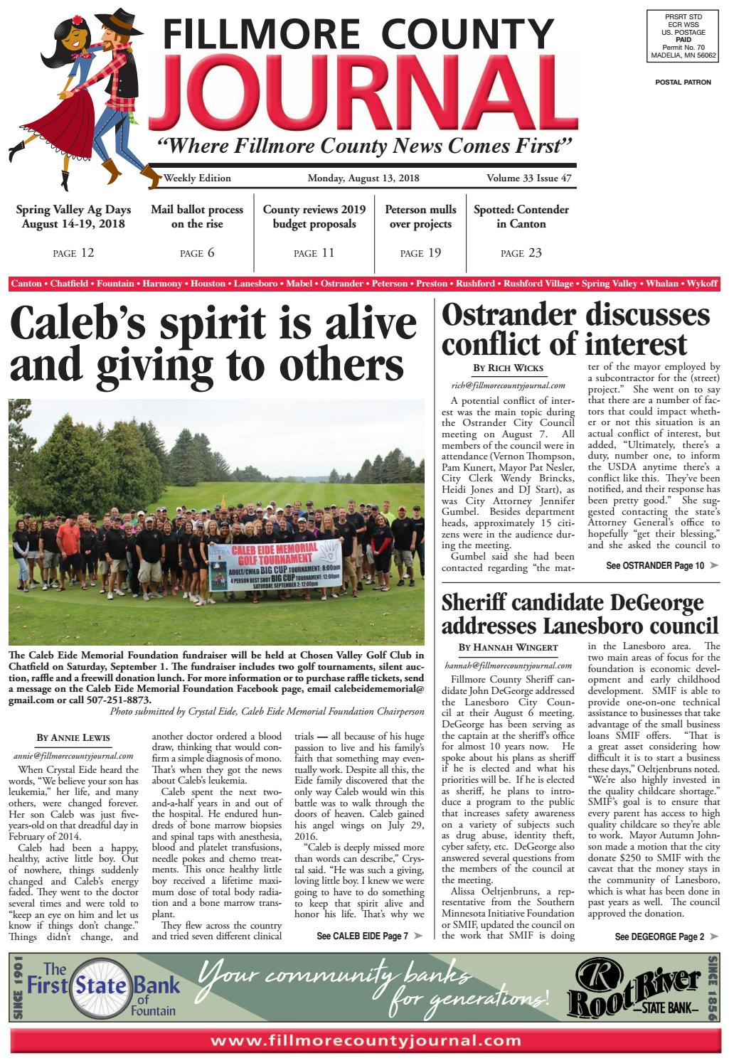 0e0cbccdcaf54 Fillmore County Journal - 8.13.18 by Jason Sethre - issuu