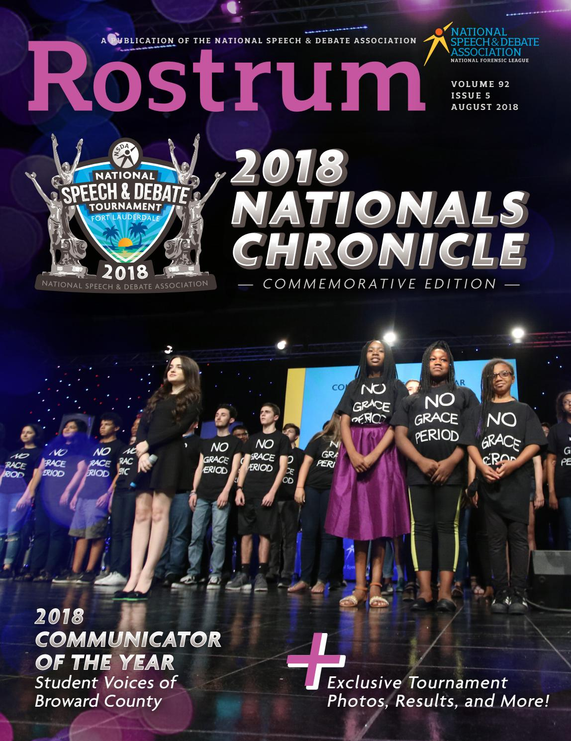 2018 August Rostrum - Nationals Chronicle by Speech & Debate