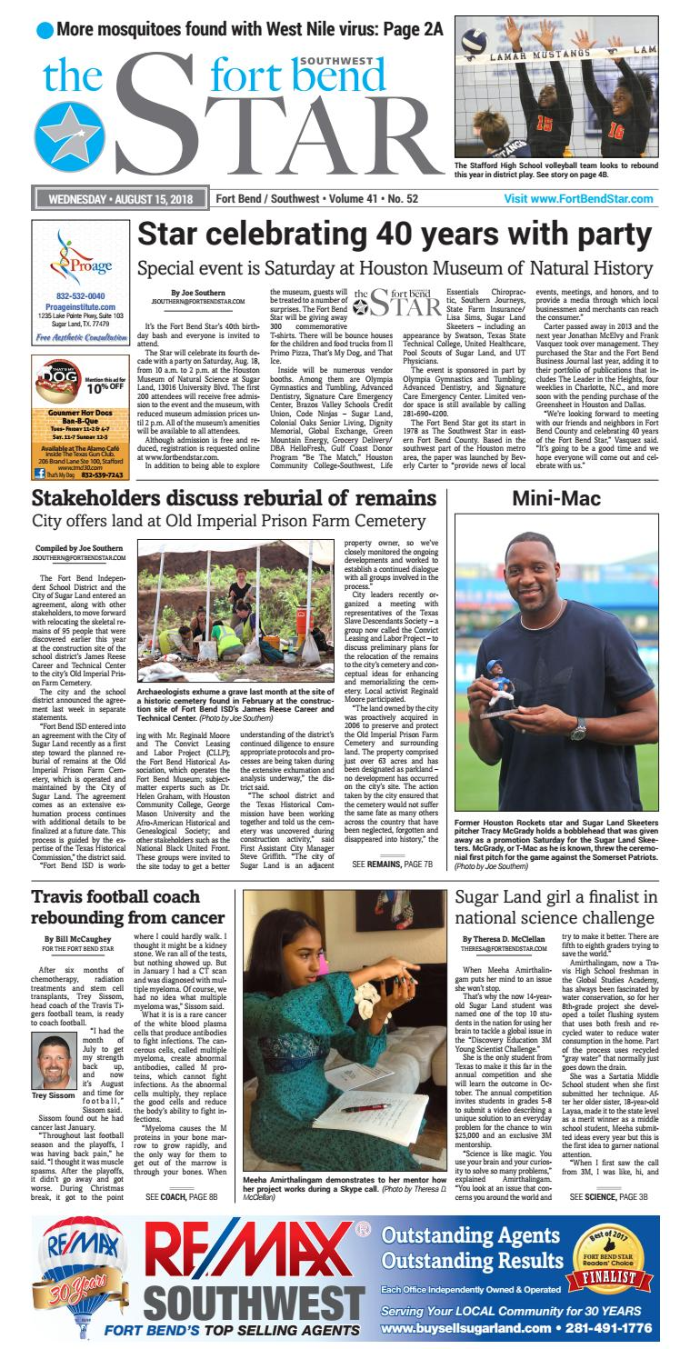 Fort Bend Star 08/15/18 Edition by Sugar Land Newcomer Guide