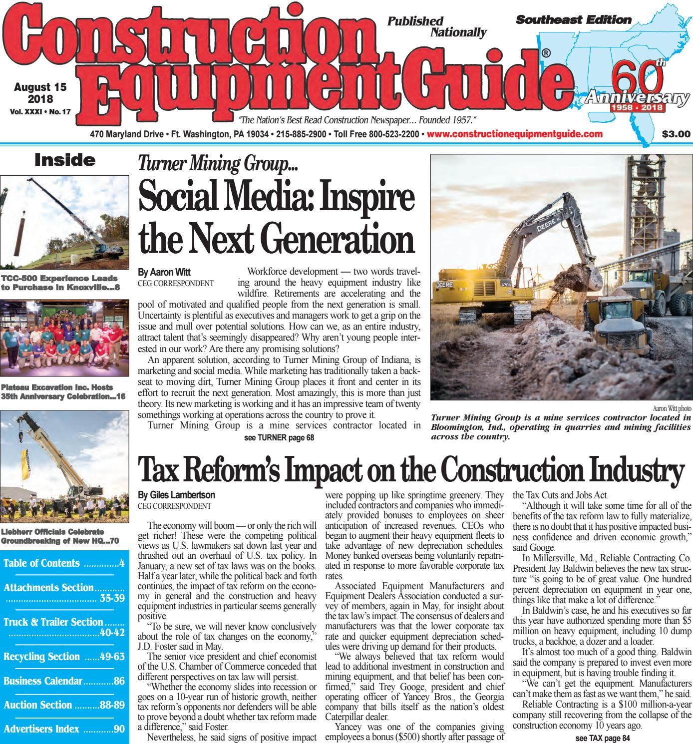 Southeast 17 August 15, 2018 by Construction Equipment Guide - issuu