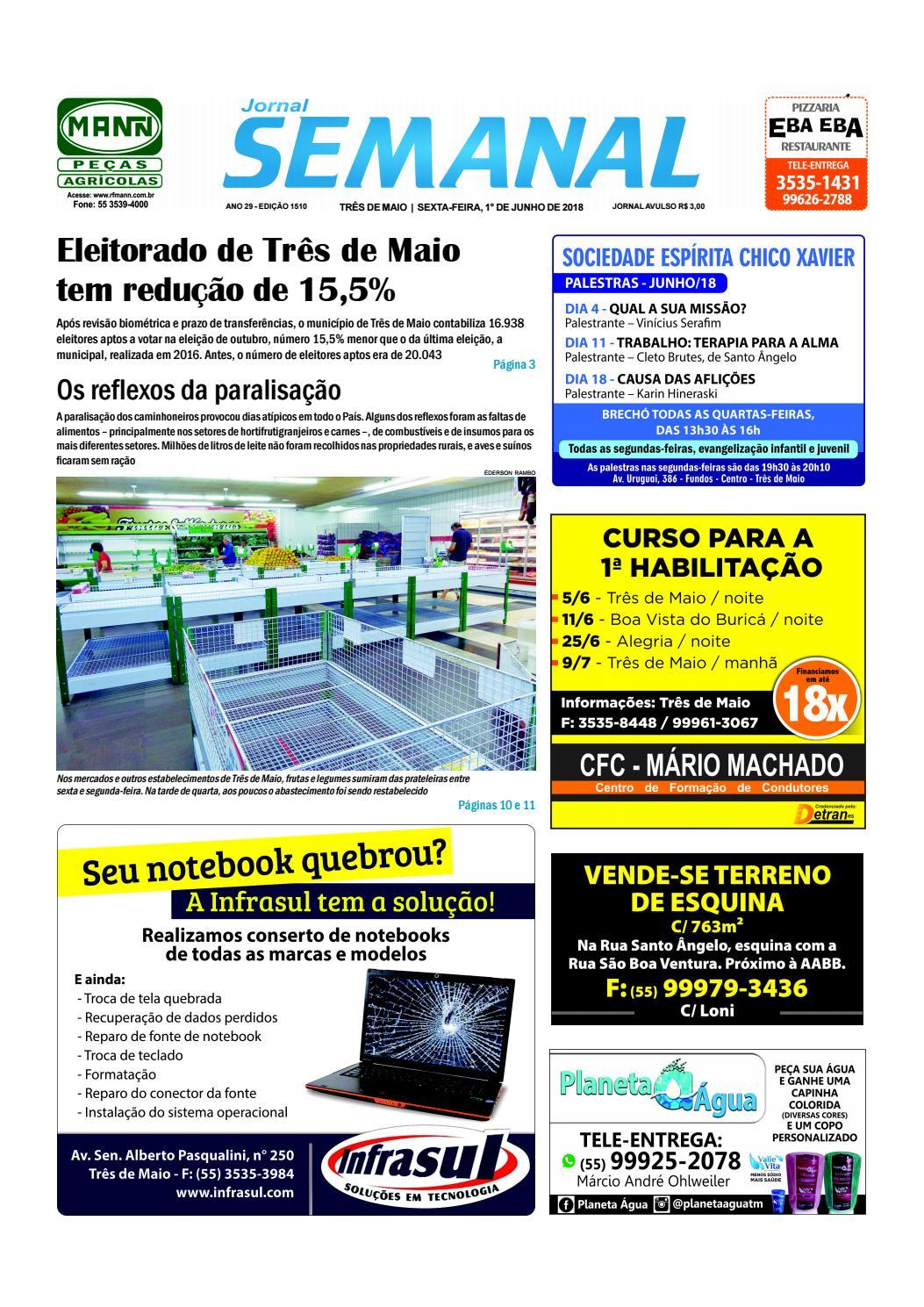 8569b74ee99 Semanal 1º de junho de 2018 - Ed. 1510 by JORNAL Semanal - issuu