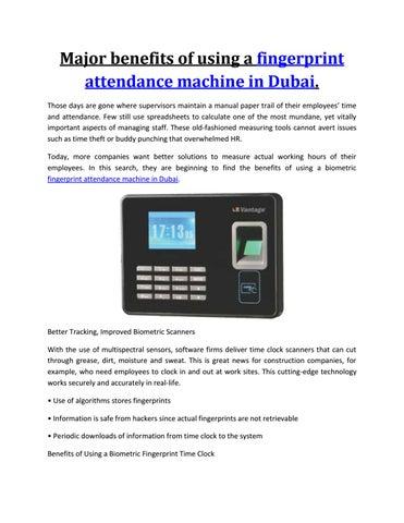 Major benefits of using a fingerprint attendance machine in