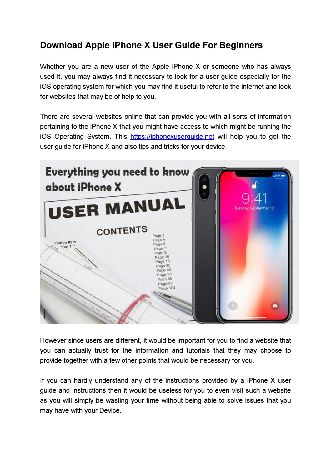 iPhone X User Guide for Beginners by Michael J  Alphin - issuu