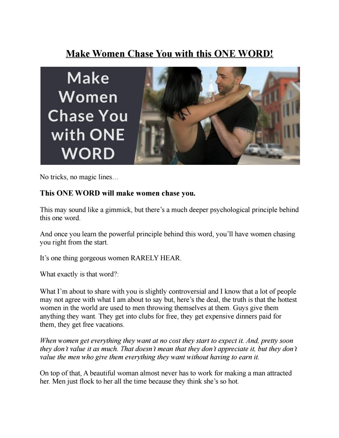 Make Women Chase You with this ONE WORD! by The Attractive