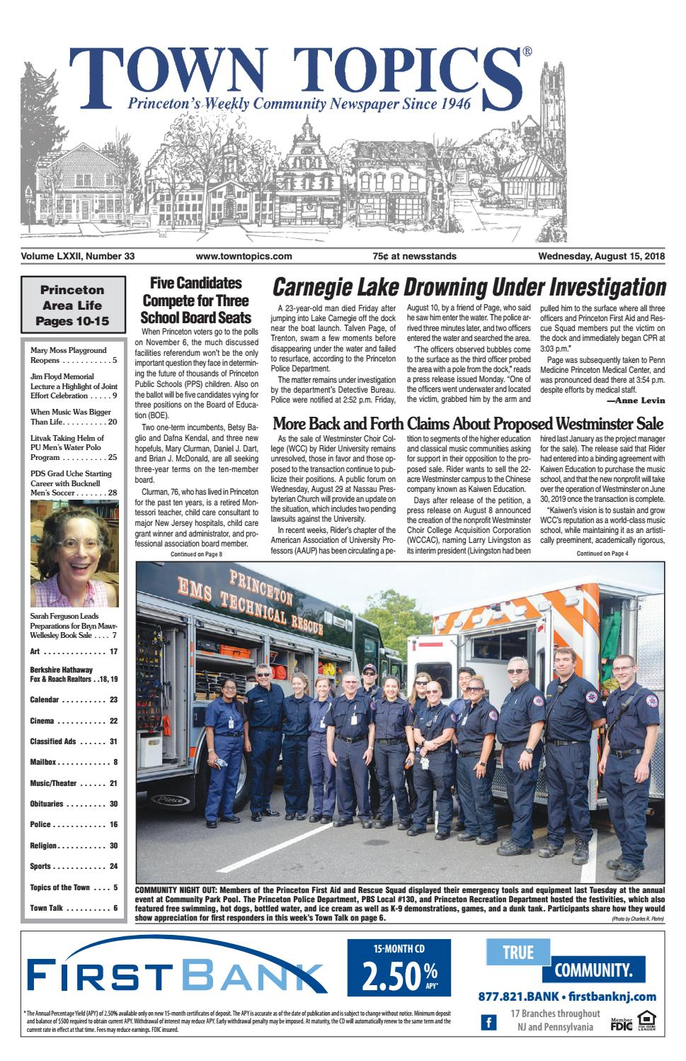 Town Topics Newspaper - August 15, 2018 by Witherspoon Media