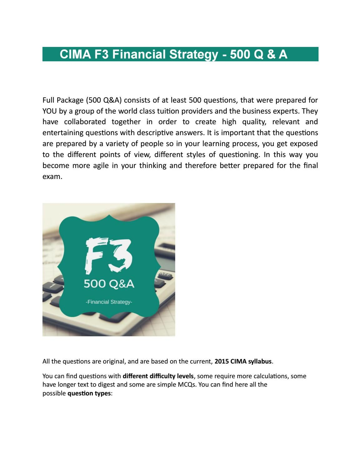 CIMA F3 Financial Strategy - 500 Q & A | Practice Tests