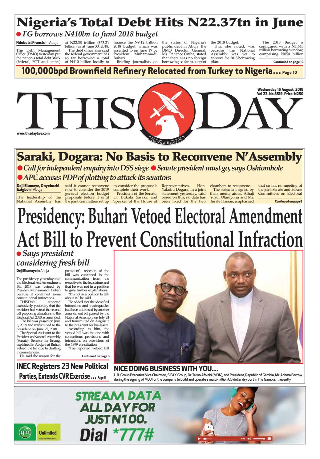 Wednesday 15th August 2018 By Thisday Newspapers Ltd Issuu Power Probe Short Circuit Detector Kit Pricefallscom