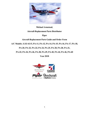 Piper Aircraft Replacement Parts Guide and Order Form by