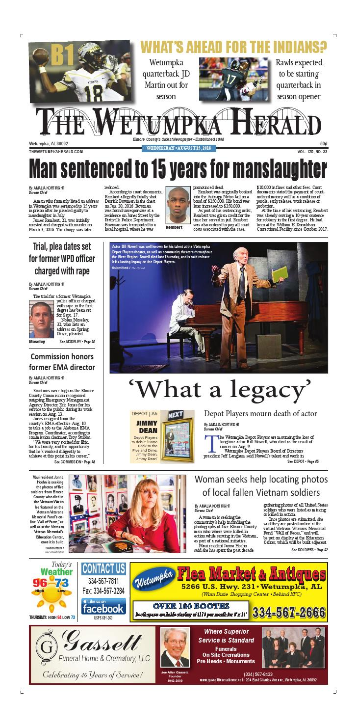 05d7c784 August 15, 2018 The Wetumpka Herald by Tallapoosa Publishers - issuu