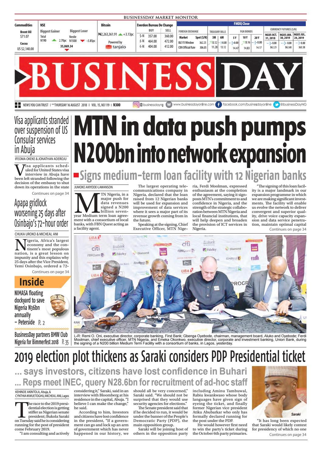 Businessday 16 Aug 2018 By Businessday Issuu