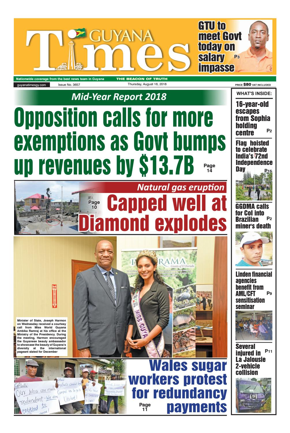Guyana Times Epaper - Thursday, August 16, 2018
