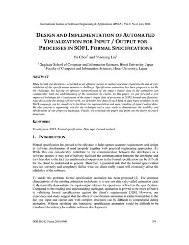 Design And Implementation Of Automated Visualization For Input Output For Processes In Sofl Formal By International Journal Of Software Engineering Applications Ijsea Era Indexed Issuu