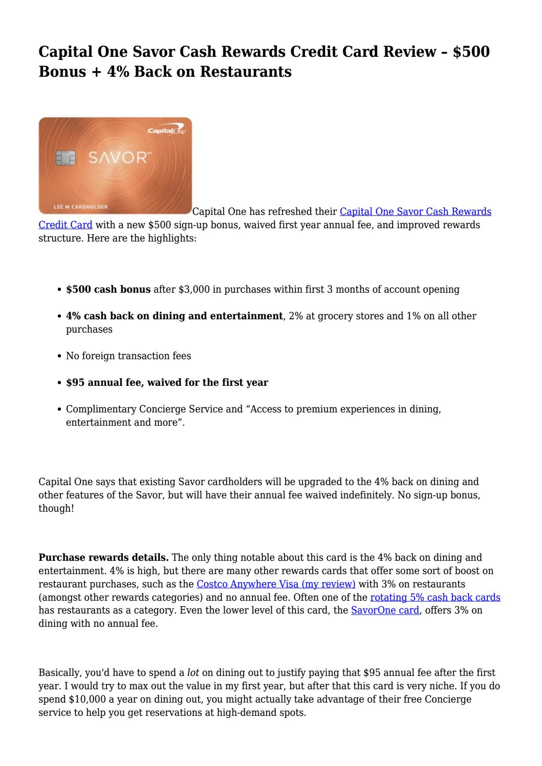 Capital One Savor Cash Rewards Credit Card Review 500 Bonus 4 Back On Restaurants By Juleslynn181 Issuu