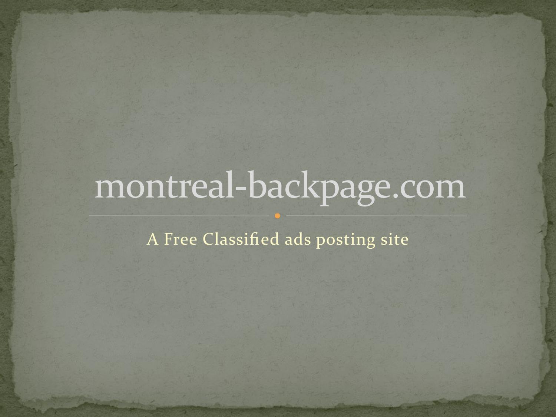 Montreal backpage com