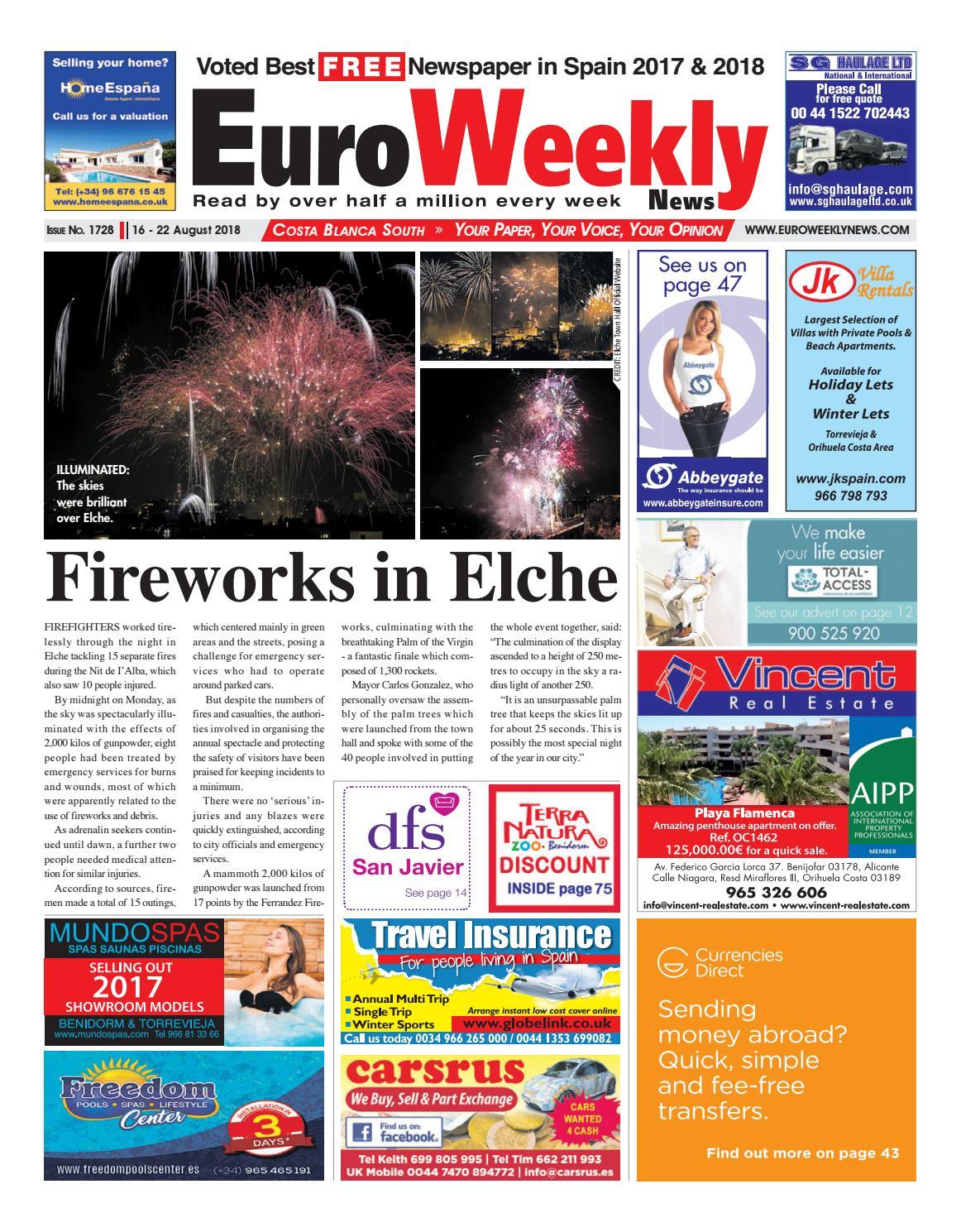 Nuria Lewinsky euro weekly news - costa blanca south 16 - 22 august 2018