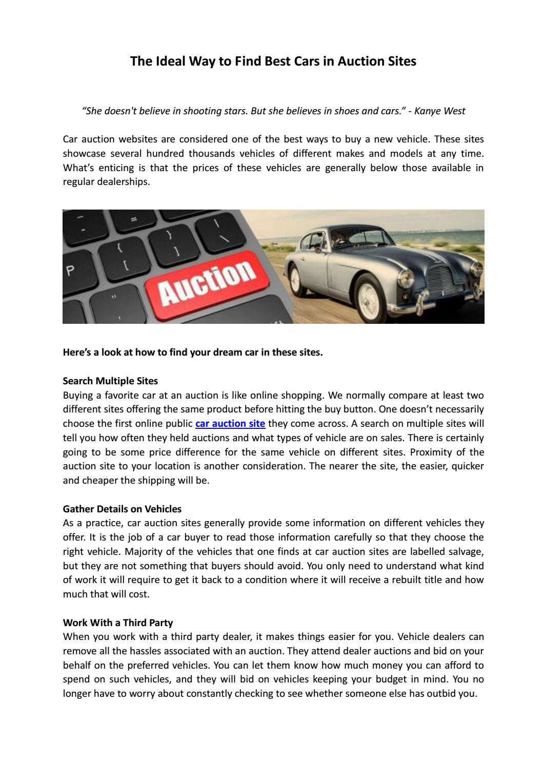 How To Buy Cars At Auction >> The Ideal Way To Find Best Cars In Auction Sites By Denis
