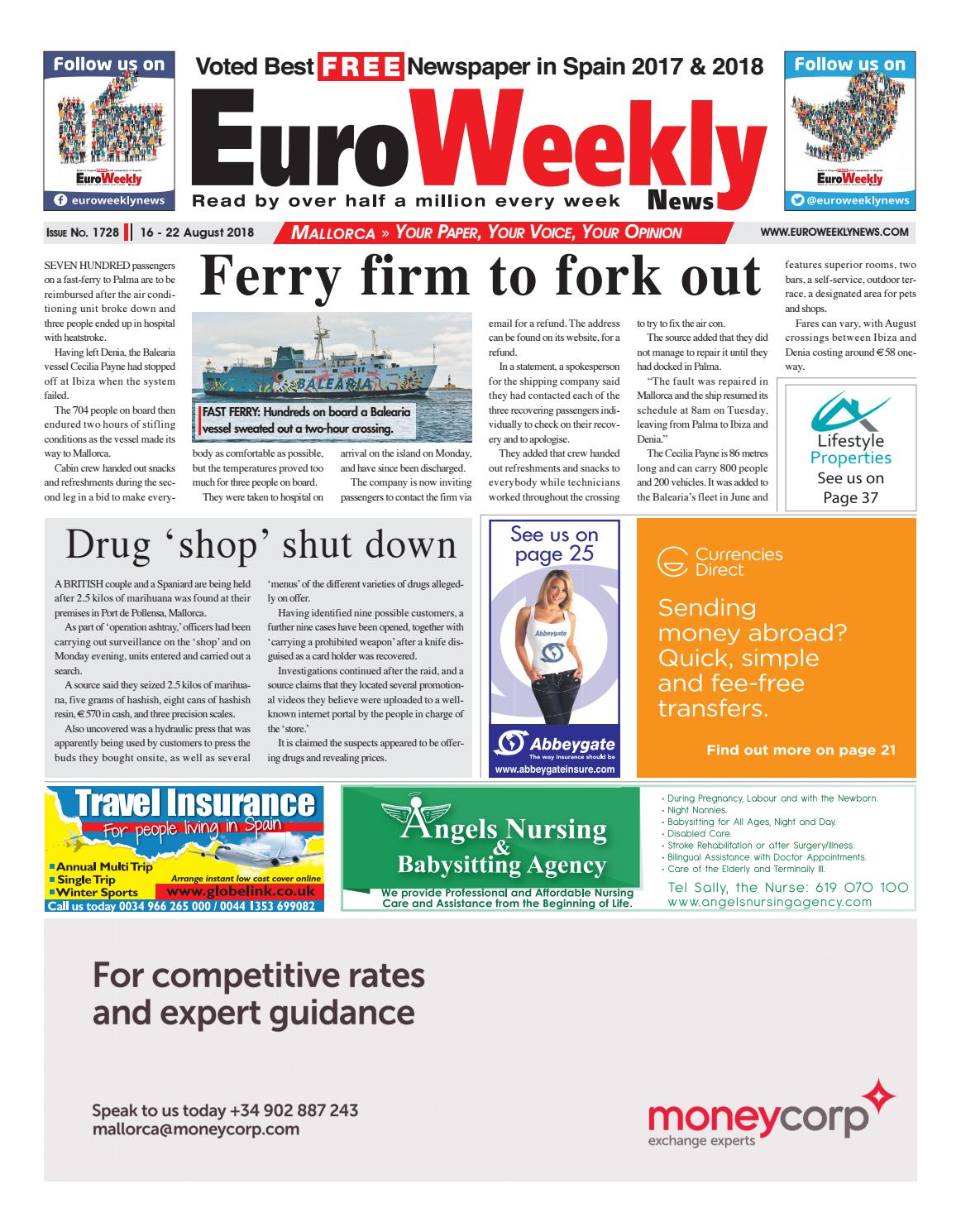 Euro Weekly News - Mallorca 16 - 22 August 2018 Issue 1728