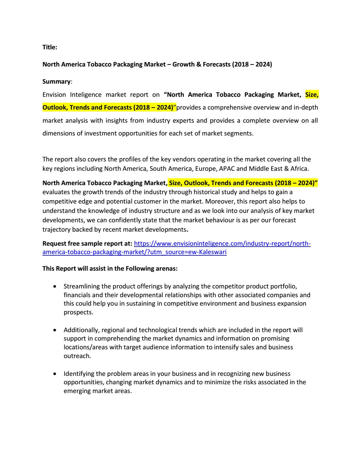 North America Tobacco Packaging Market – Growth & Forecasts