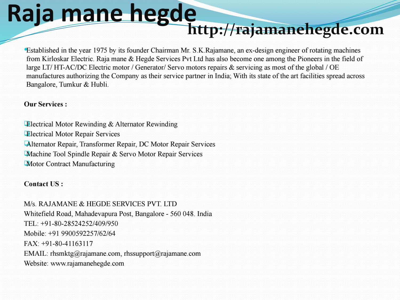 Electrical Motor Rewinding & Alternator Rewinding by rajamanehegde