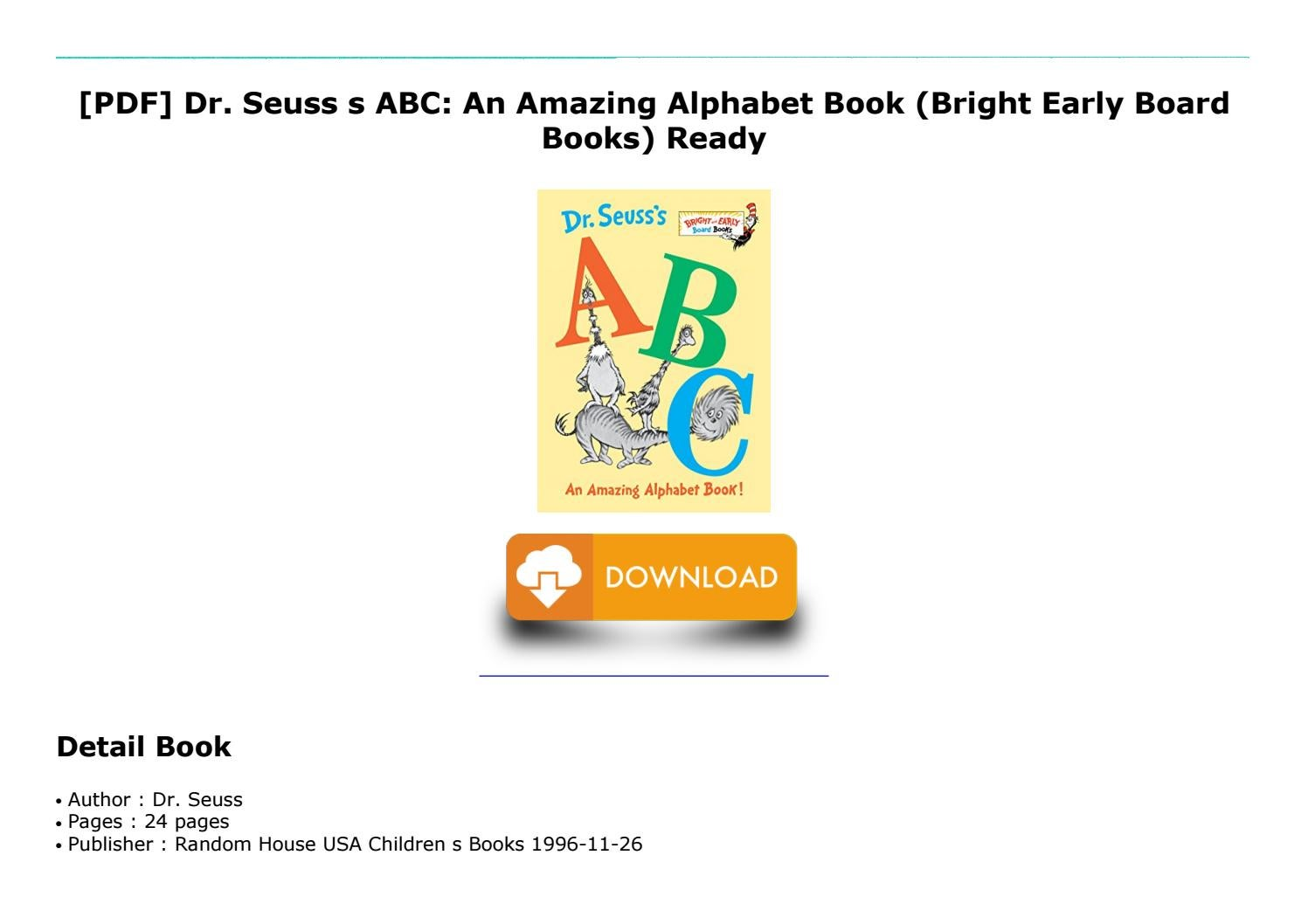 Audiobook Dr. Seuss s ABC An Amazing Alphabet Book Bright Early ...
