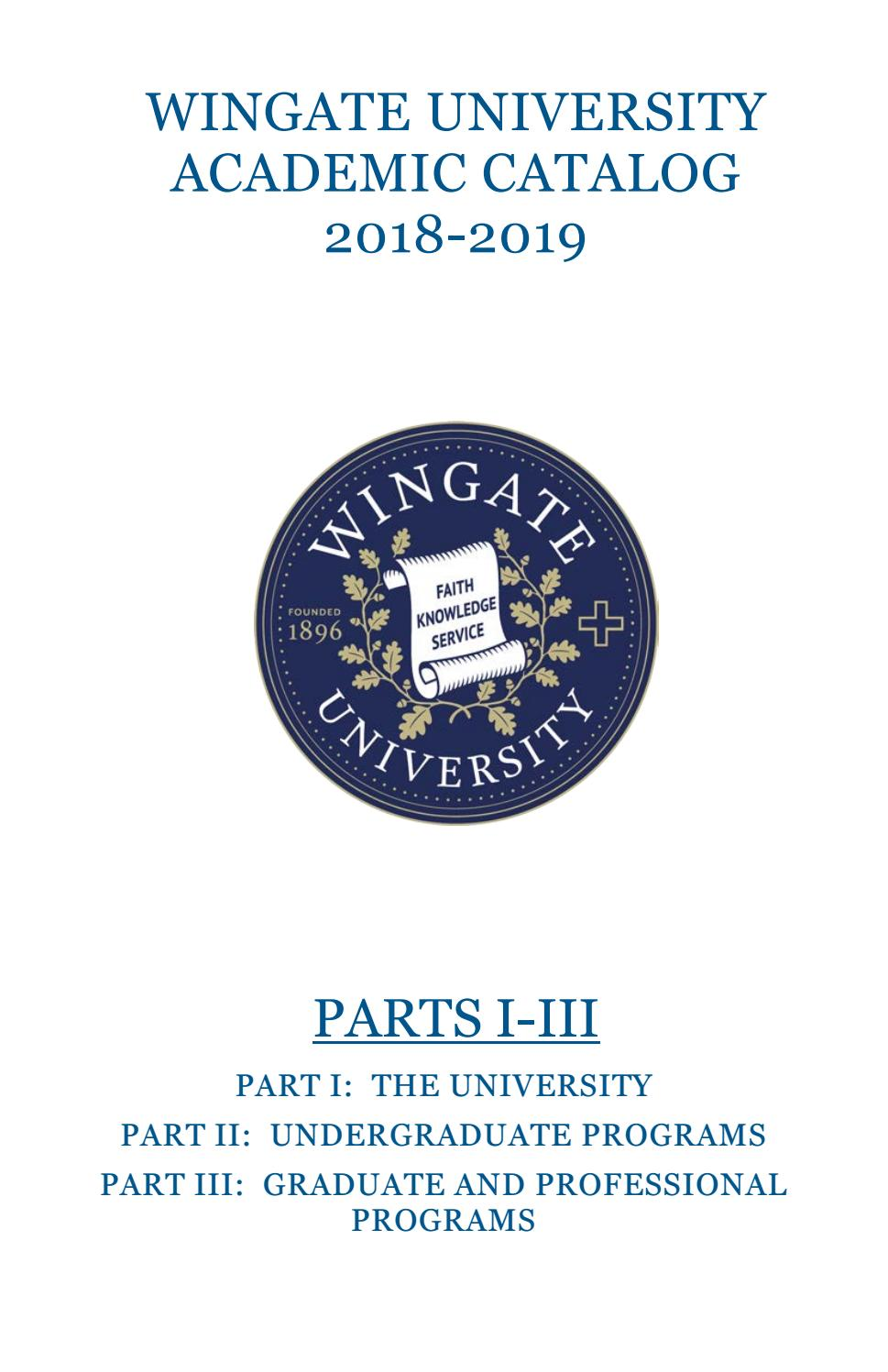 97400df67fed 2018-19 Wingate University Academic Catalog by Wingate University - issuu