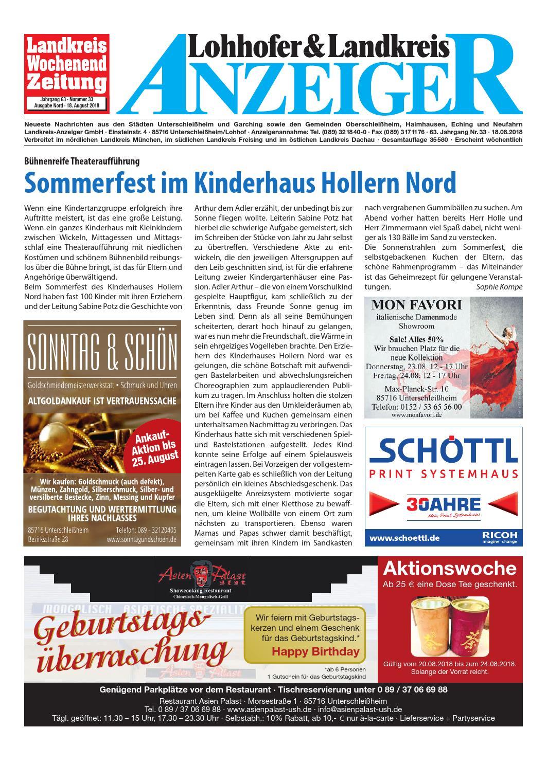 Lohhofer & Landkreis Anzeiger 33/18 by Zimmermann GmbH Druck & Verlag -  issuu