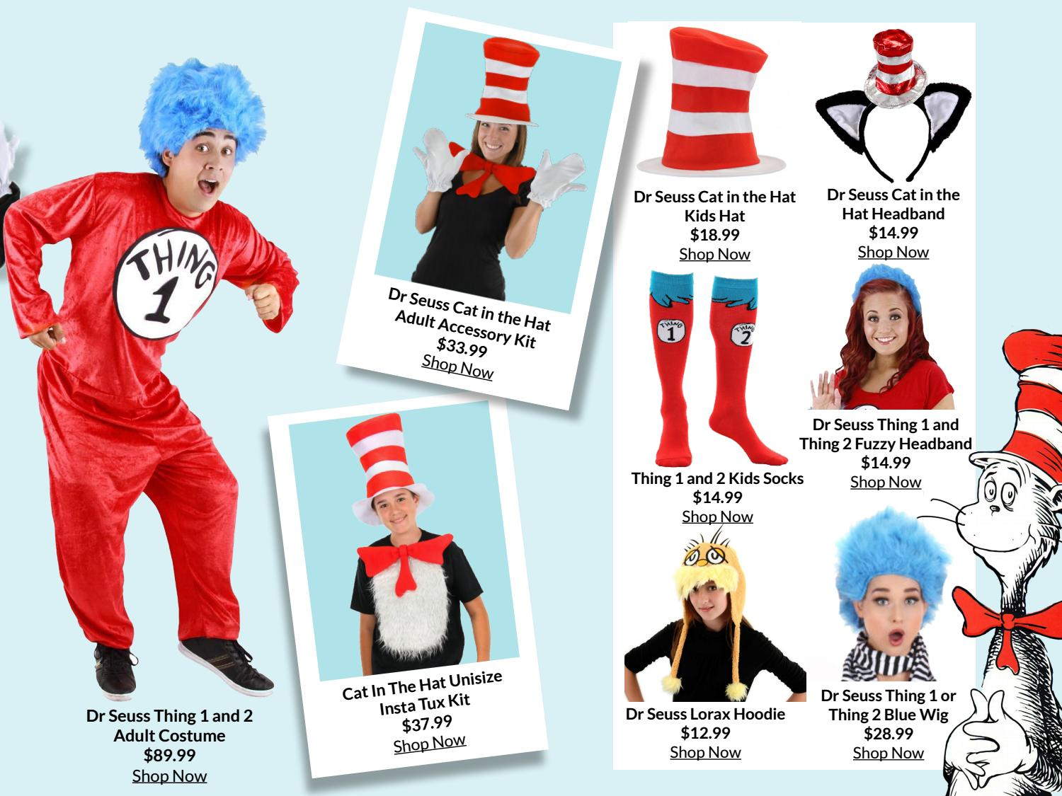 THING 1 /& 2 CAT IN THE HAT BLUE CHILD or ADULT WIG
