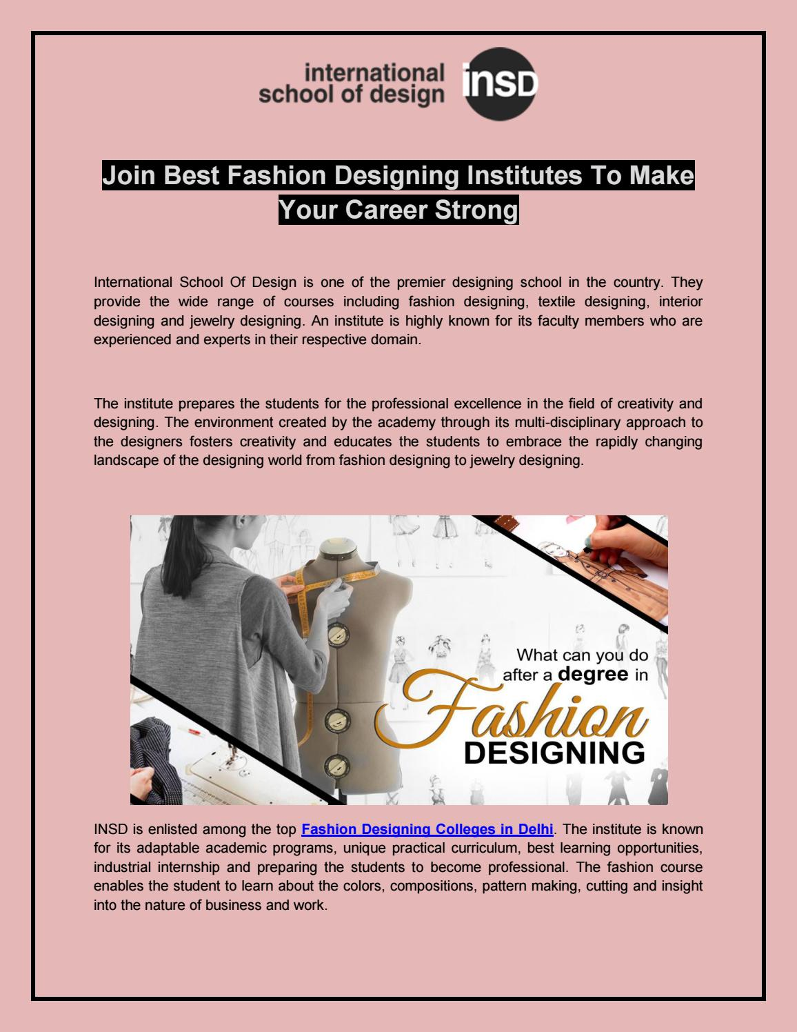 Join Best Fashion Designing Institutes To Make Your Career Strong By Insd Paschim Vihar Issuu