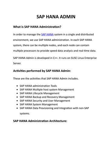 SAP HANA Admin pdf   HANA Admin Tools   Activities by