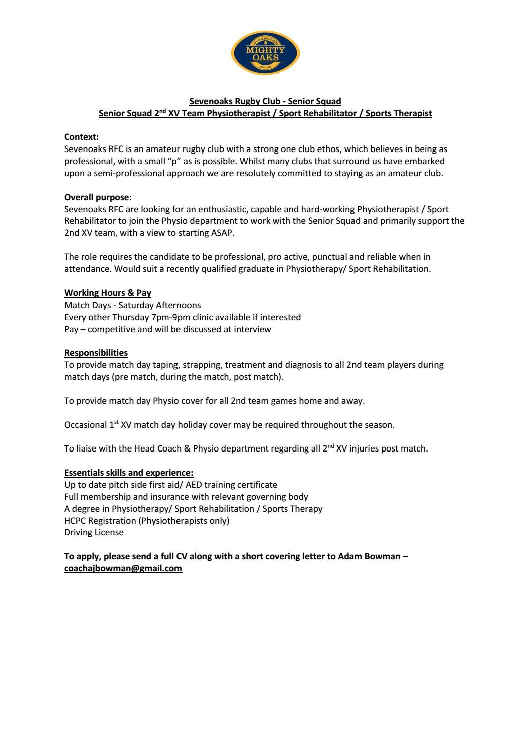 2nd XV Physio Role profile by Matt Bates - issuu