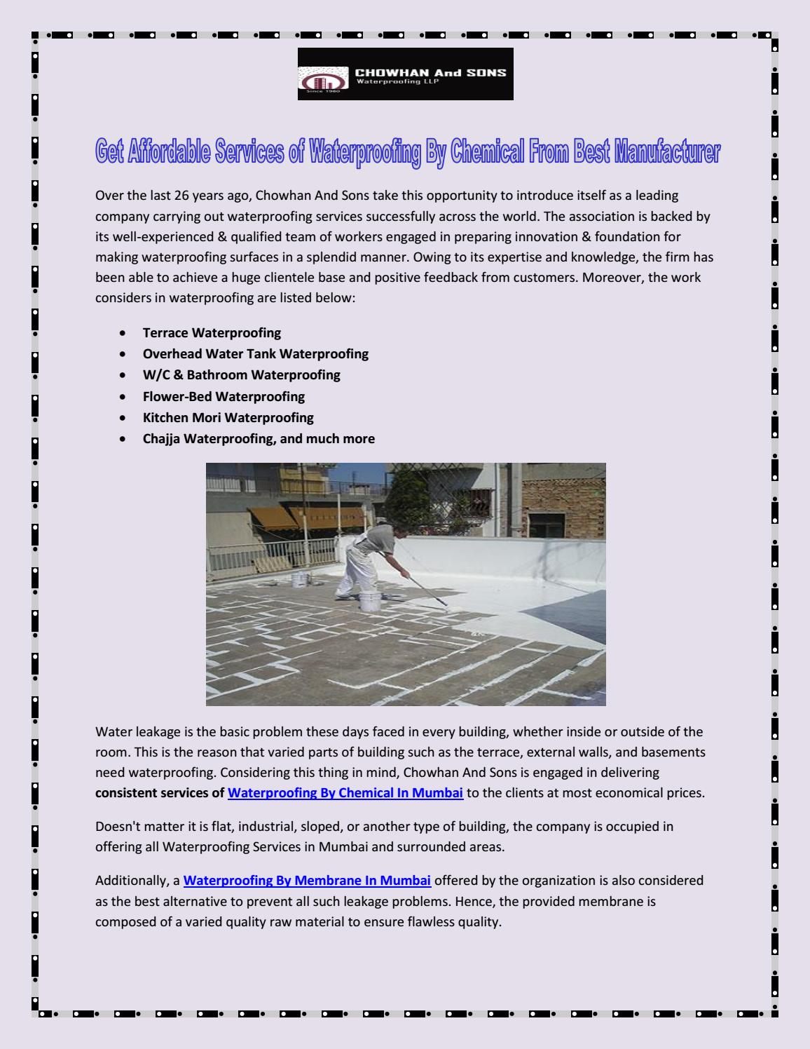 Get Affordable Services of Waterproofing By Chemical From