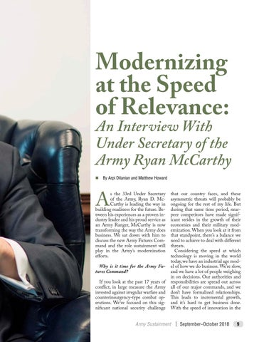 Page 13 of Modernizing at the Speed of Relevance: An Interview with Under Secretary of the Army Ryan McCarthy