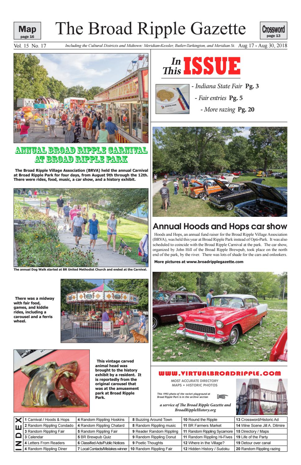 Broad Ripple Gazette Volume Number August August - Car show indiana state fairgrounds