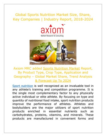 Sports Nutrition Market By Type Application End Users Analysis Report 2018 By Aupare19 Issuu