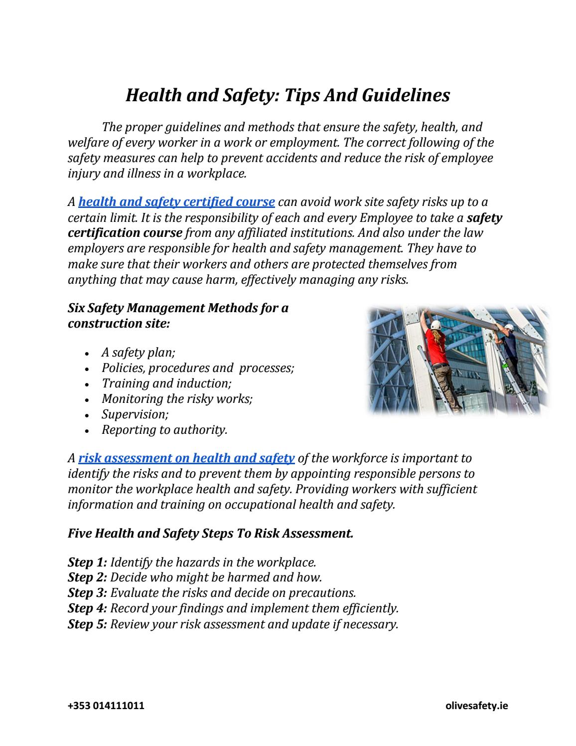 Necessary measures for occupational safety at work