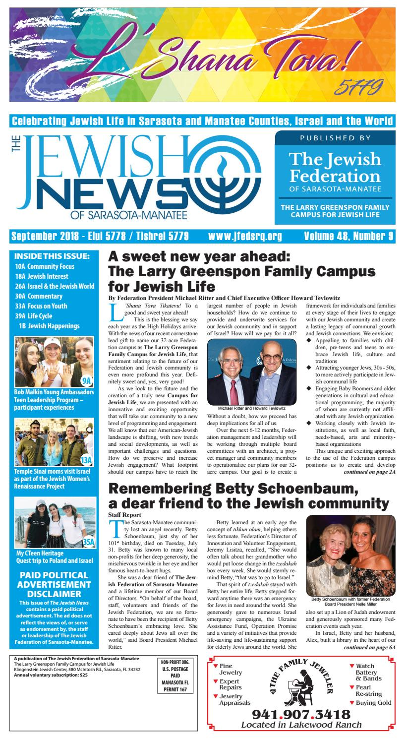 The Jewish News - September 2018 by The Jewish Federation of Sarasota-Manatee - issuu