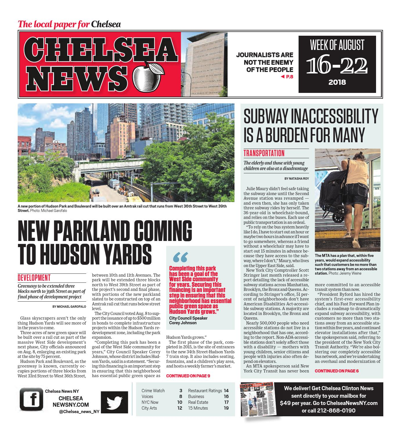 Chelsea News - August 16, 2018 by Chelsea News NY - issuu