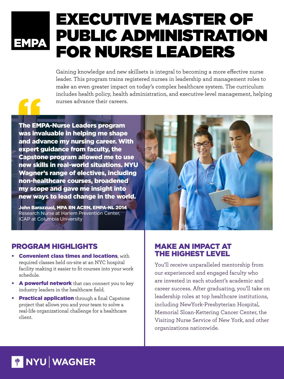 Executive Master of Public Administration for Nurse Leaders by NYU