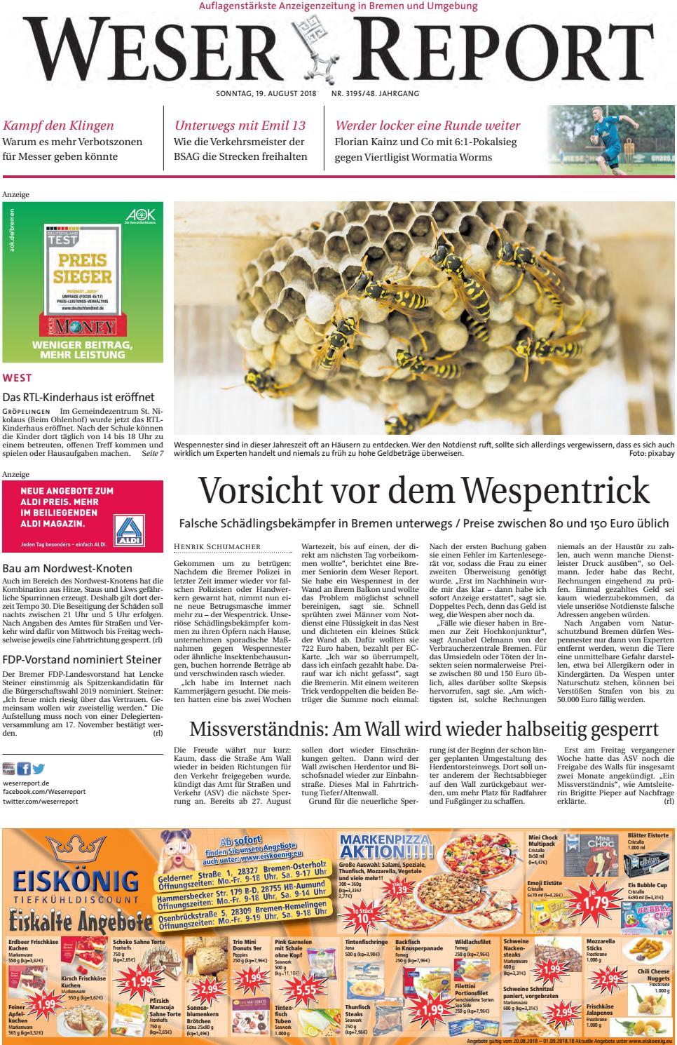 Weser Report - West vom 19.08.2018 by KPS Verlagsgesellschaft mbH - issuu