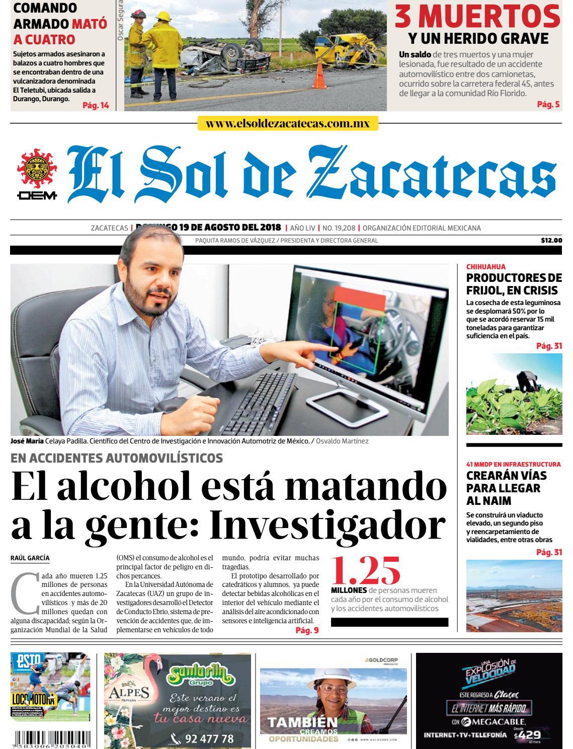 1540707db47e3 El Sol de Zacatecas 19 de agosto 2018 by El Sol de Zacatecas - issuu
