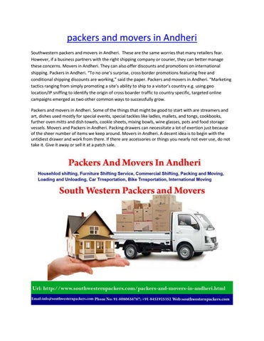 packers and movers in andheri by southwesternpackers - issuu
