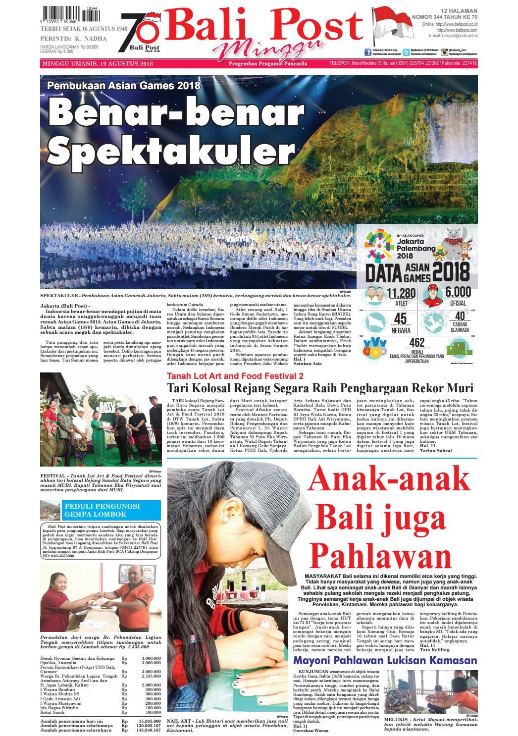Edisi Minggu 19 Agustus 2018 Balipost Com By E Paper Kmb Issuu