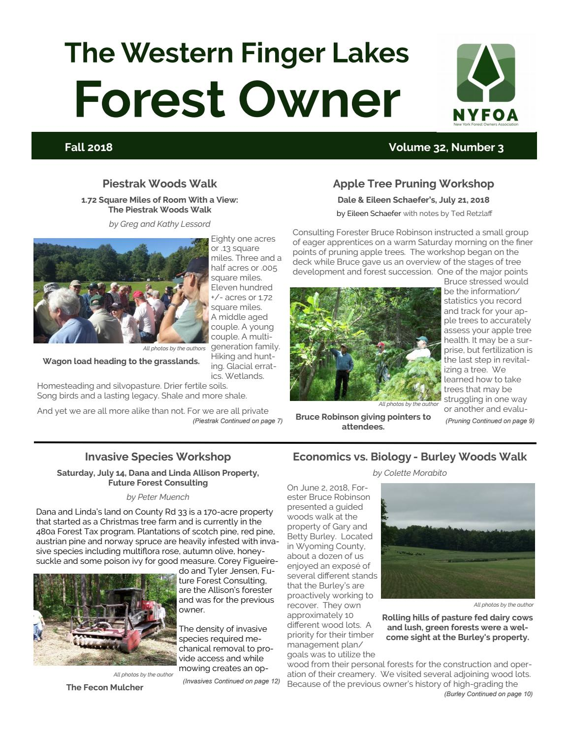 NYFOA's Western Finger Lakes Chapter Fall 2018 Newsletter
