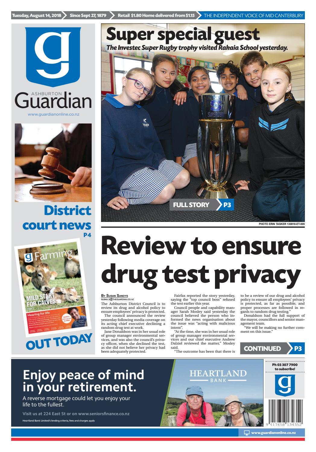 Ashburton Guardian Tuesday August 14 2018 By Ashburton