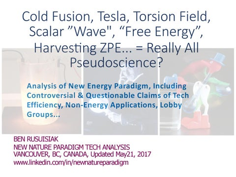 Cold fusion, Tesla, Scalar wave, Torsion field,