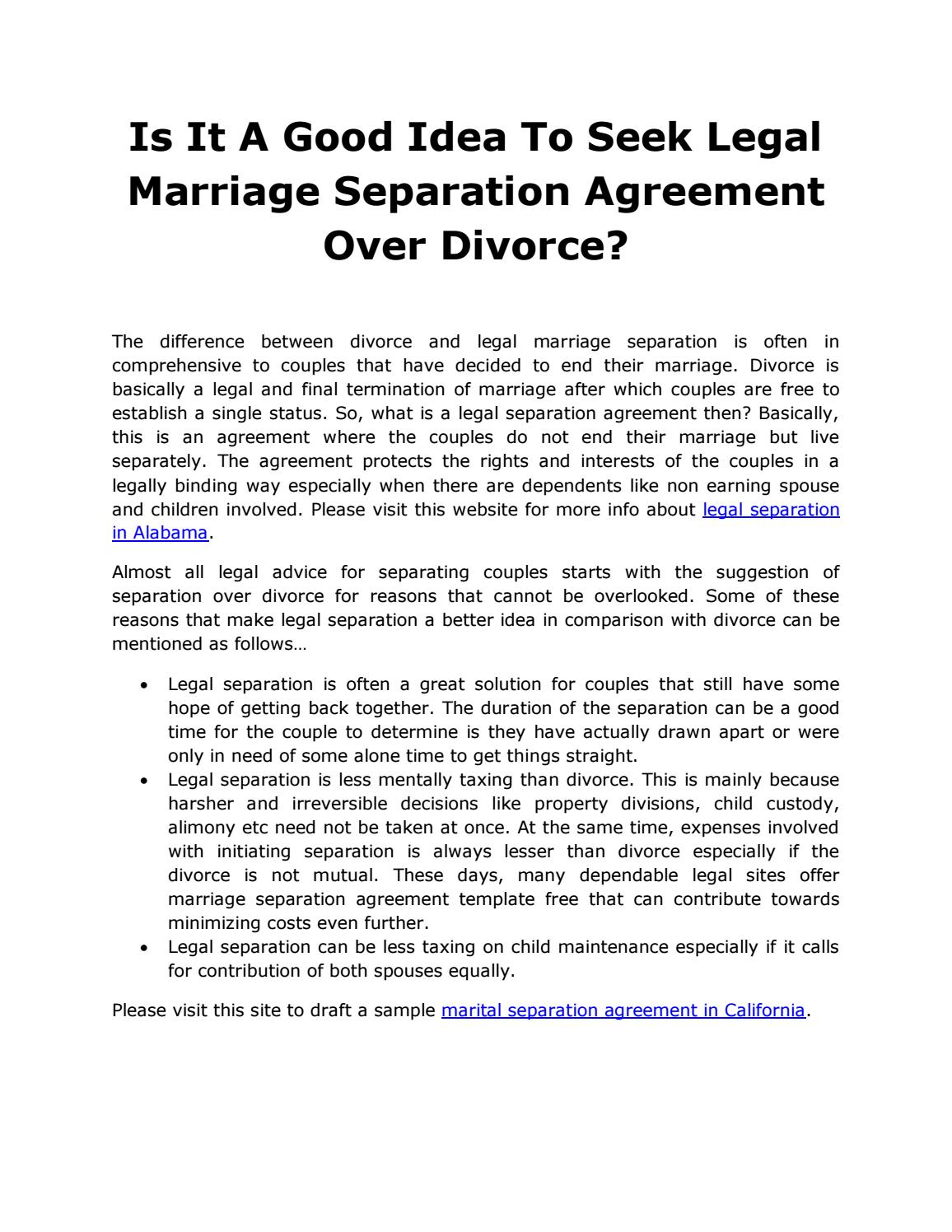 Is It A Good Idea To Seek Legal Marriage Separation Agreement Over